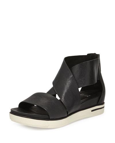 Sport Wide-Strap Leather Sandal, Black