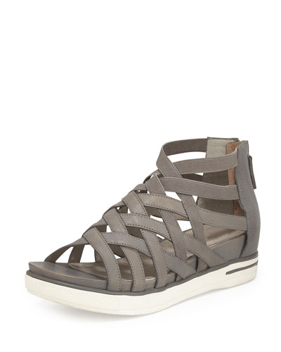 Airy Caged Leather Sneaker, Graphite