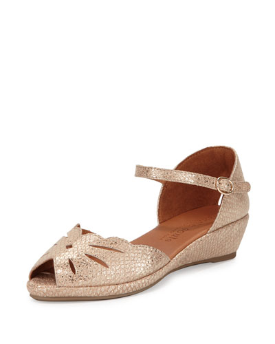 Lilly Moon Demi Wedge d'Orsay Sandal, Gold