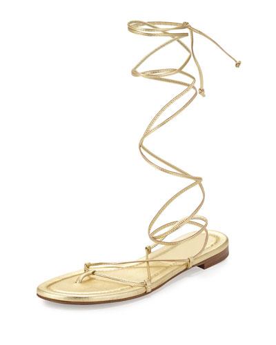Bradshaw Lace-Up Gladiator Flat Sandal, Pale Gold