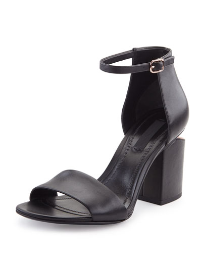 Abby Leather Tilt-Heel City Sandal, Black