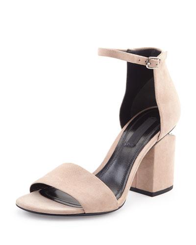 Abby Suede Tilt-Heel City Sandal, Sand