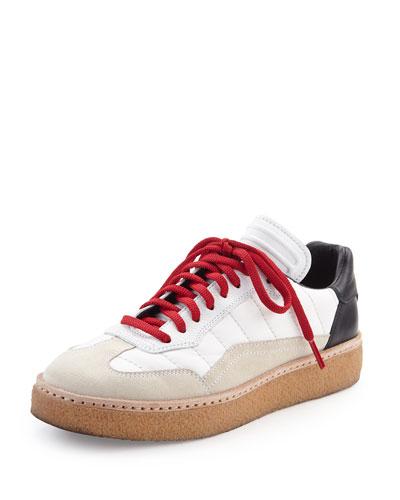 Eden Colorblock Runway Low-Top Sneaker, Black/White