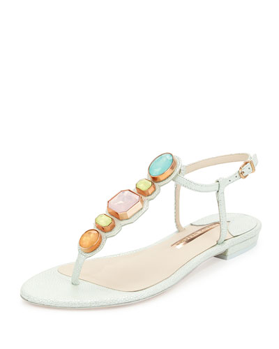 Lily Gem Iridescent Sandal, Mint