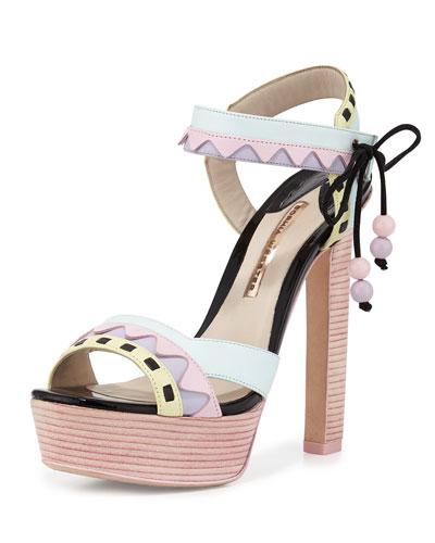 Riko Pastel Platform Sandal, Pink/Aqua