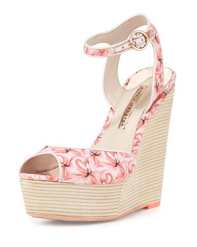 Lula Dreamy Flamingo Wedge Sandal, Pink