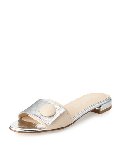 Buttoni Crocodile-Embossed Slide Sandal, Silver/Beige