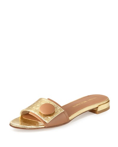 Buttoni Crocodile-Embossed Slide Sandal, Gold/Tan