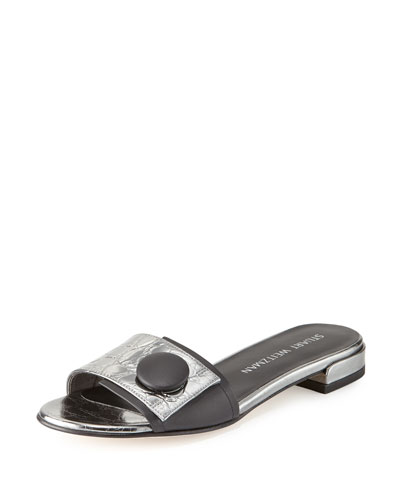 Buttoni Crocodile-Embossed Slide Sandal, Pewter/Black