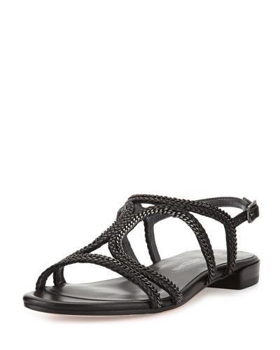 Samoa Chain Strappy Flat Sandal, Black
