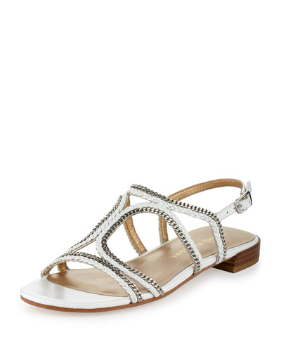 Samoa Chain Strappy Flat Sandal, White
