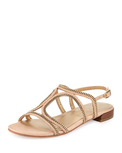 Samoa Chain Strappy Flat Sandal, Adobe