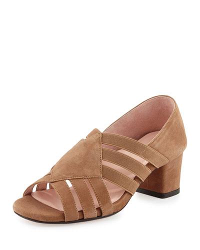 Rilee Suede Chunky-Heel Sandal, Quinoa