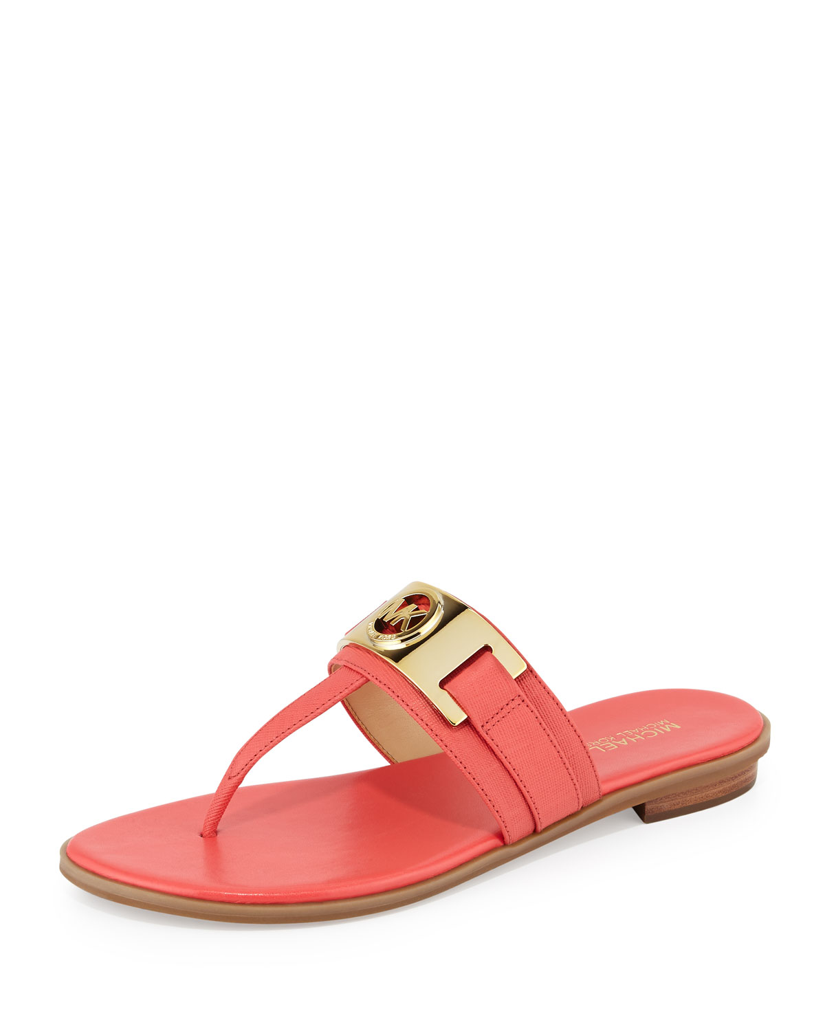 Warren Flat Saffiano Thong Sandal, Watermelon