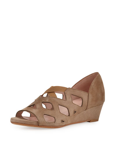 Soukey Strappy Suede Low-Wedge Sandal, Quinoa