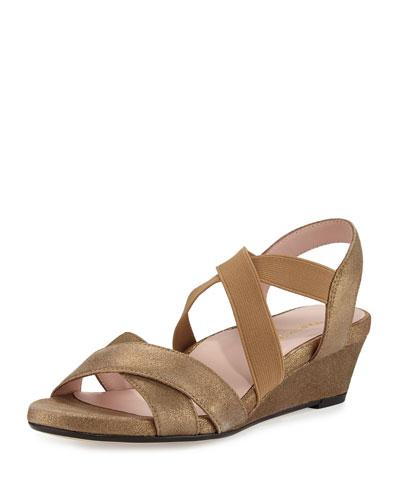 Spiro Strappy Demi-Wedge Sandal, Quinoa