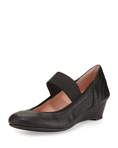 Pirro Leather Demi-Wedge Pump, Black
