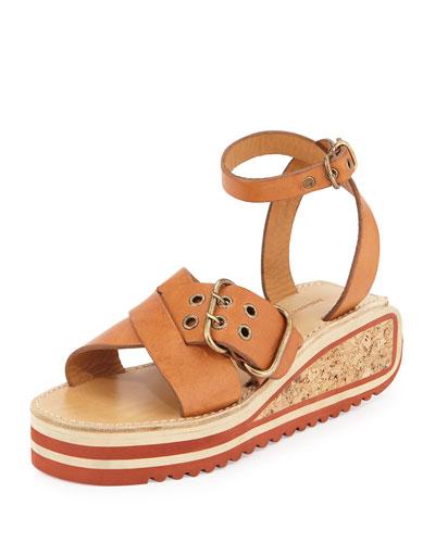 Zena Leather Buckle Platform Sandal, Tan