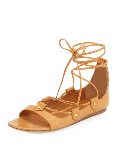 Alisa Leather Lace-Up Sandal, Amber