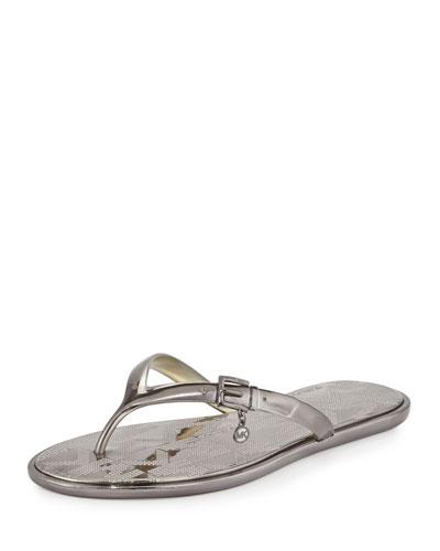 Emory Buckle Flat Thong Sandal, Gunmetal