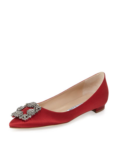 Hangisi Crystal-Buckle Satin Flat, Crimson
