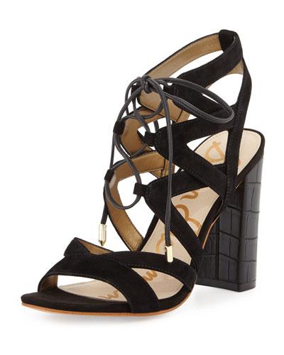 Yardley Suede Lace-Up Sandal, Black