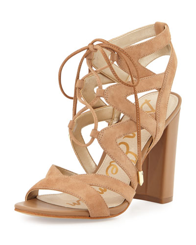 Yardley Suede Lace-Up Sandal, Camel