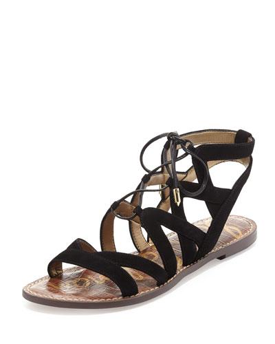 Gemma Suede Flat Lace-Up Sandal, Black