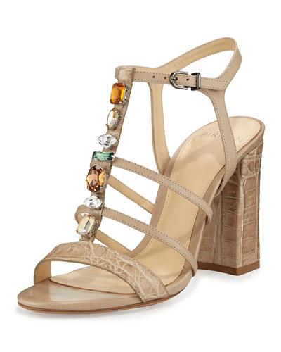 Cindy Crocodile 90mm T-Strap Sandal, Cream