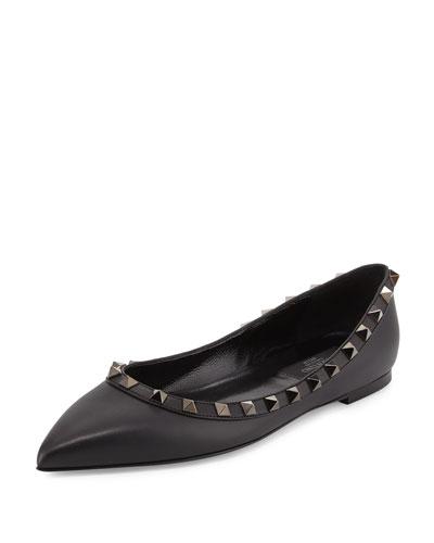 Rockstud Patent Ballerina Flat, Black (Noir)