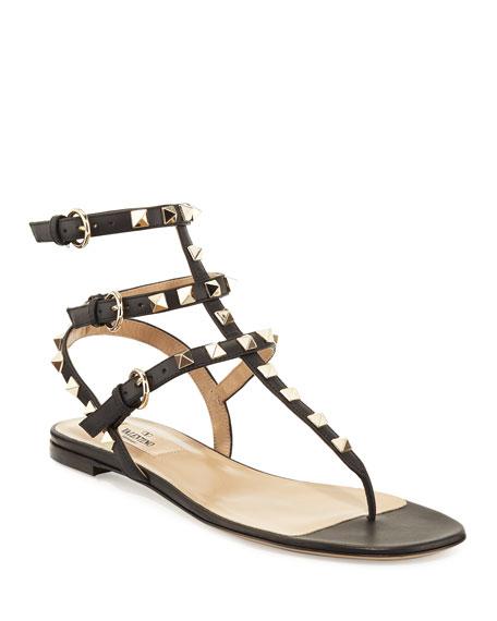 Valentino Garavani Rockstud Flat Thong Sandals, Black