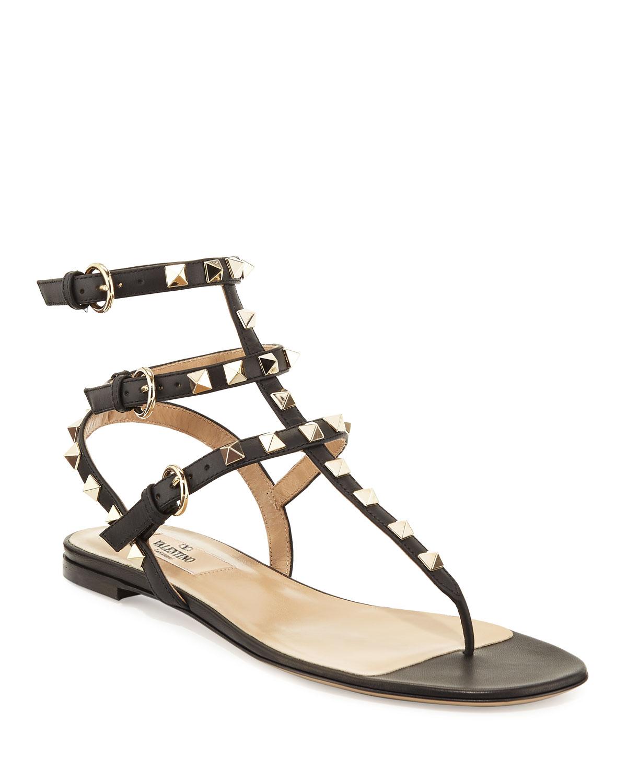 Rockstud Flat Thong Sandals, Black
