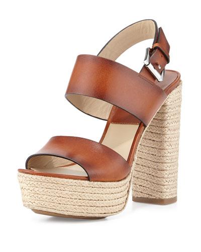Summer Leather Jute Sandal, Luggage