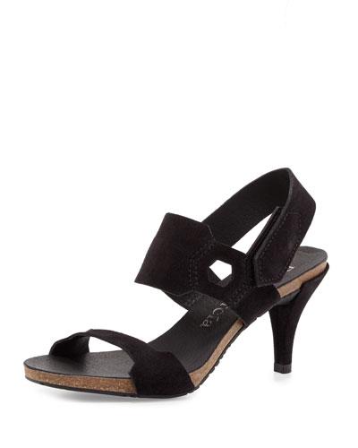 Walta Suede Mid-Heel Sandal, Black
