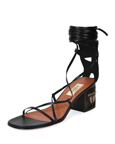 Mask-Heel Lace-Up Leather Sandal, Black/Brown (Nero/Ebano)