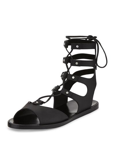 Niva Leather Lace-Up Flat Gladiator Sandal, Black