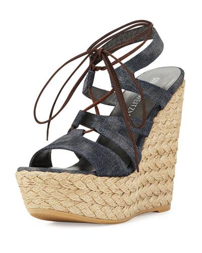 Tiegirlbingo Denim Platform Wedge Sandal, Navy