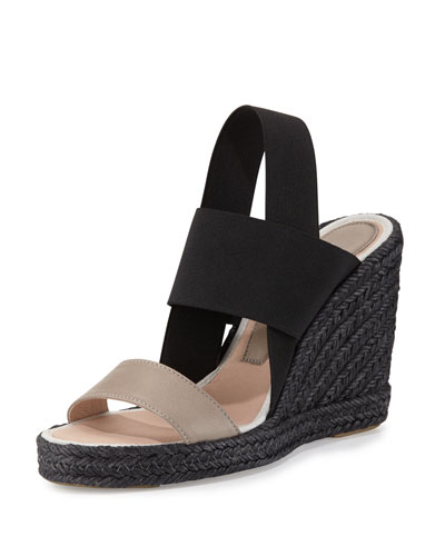 Jamie Elastic Espadrille Wedge Sandal, Alabaster/Black