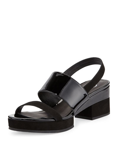 Malia Patent Mid-Heel Sandal, Black