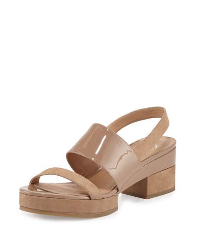 Malia Patent Mid-Heel Sandal, Sand Dune