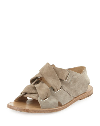 Elda Suede Lace-Up Flat Sandal, Gray