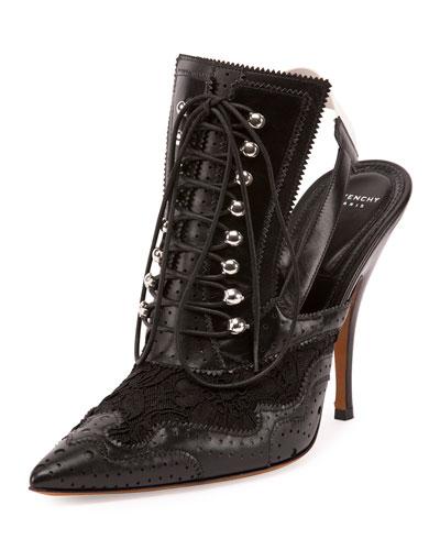 Maremma Leather Lace-Up Slingback Pump, Black/White