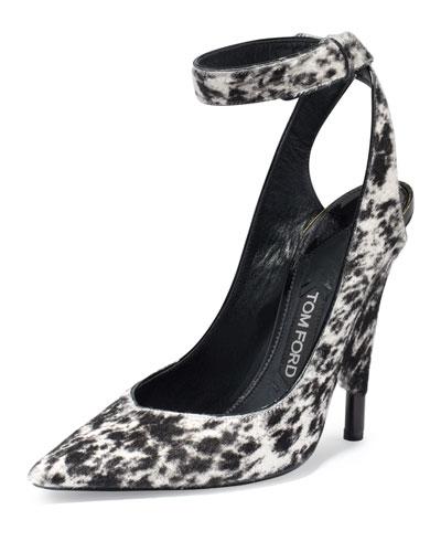 Leopard-Print Calf-Hair Ankle-Wrap Pump, White/Black