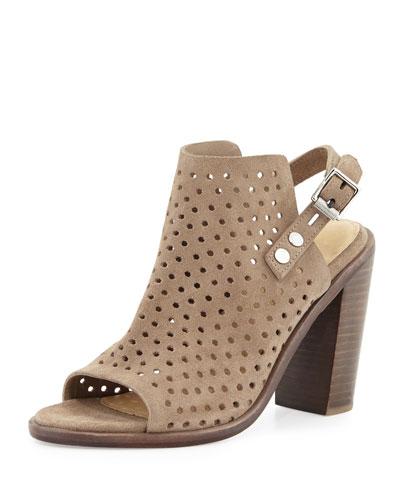 Wyatt Perforated High-Heel City Sandal, Warm Gray