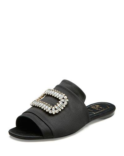 Strass-Buckle Satin Slide Sandals, Black