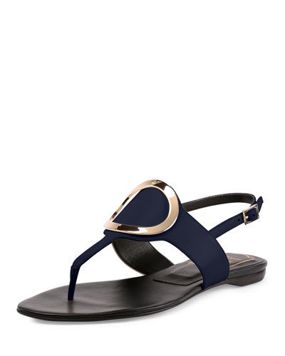 Round-Buckle Flat Leather Thong Sandal, Navy