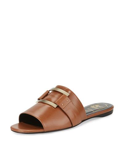 Square-Buckle Flat Slide Sandal, Cognac