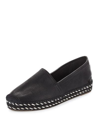 Noa Leather Espadrille Flat, Black
