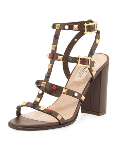 Leather Rockstud 90mm City Sandal, Cacao/Multi