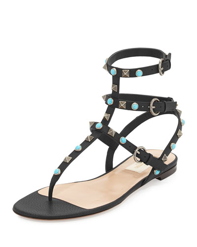 Rockstud Leather Flat Gladiator Sandal, Black/Turquoise/Gold